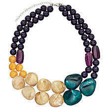 Buy John Lewis Double Layer Bead Necklace, Taupe / Green Online at johnlewis.com