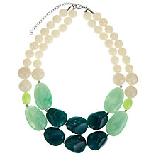 Buy John Lewis Double Layer Bead Necklace, Green/Cream Online at johnlewis.com