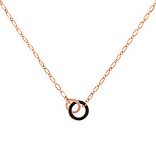 Buy Finesse Swarovski Crystal & Enamel Hoop Necklace, Rose Gold Online at johnlewis.com
