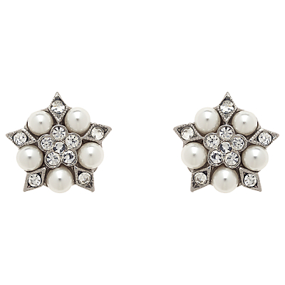 Downton Abbey Pearl  Crystal Earrings Silver £25.00 AT vintagedancer.com
