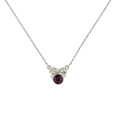 Downton Abbey Crystals Bow Necklace SilverPurple £20.00 AT vintagedancer.com