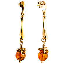 Buy Be-Jewelled Amber Ball Drop Earrings, Cognac Online at johnlewis.com