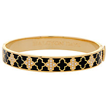 Buy Halycon Days Agama Sparkle 18ct Gold Plated Bangle, Black Online at johnlewis.com