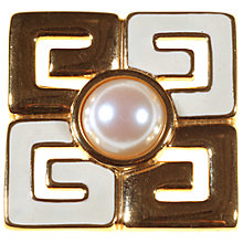 Buy Alice Joseph Vintage Givenchy Logo Pearl Brooch, Gold Online at johnlewis.com