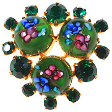 Buy Alice Joseph Vintage 1950s Painted Flowers Diamante Brooch, Green Online at johnlewis.com