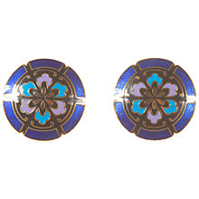 Buy Alice Joseph Vintage Enamel Flower Clip Earrings, Brown / Blue Online at johnlewis.com