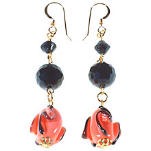 Buy Alice Joseph Vintage Lampworked Drop Earrings, Coral / Black Online at johnlewis.com