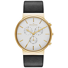 Buy Skagen SKW6143 Men's Anchor Leather Strap Watch, Black / Gold Online at johnlewis.com
