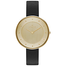 Buy Skagen SKW2262 Women's Gitte Leather Strap Watch, Gold / Black Online at johnlewis.com