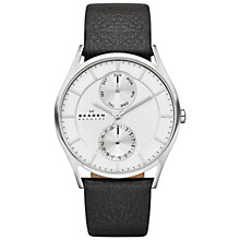 Buy Skagen SKW6065 Men's Holst Single Chronograph Leather Strap Watch, Black/Silver Online at johnlewis.com