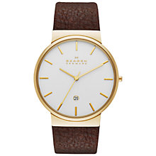 Buy Skagen SKW6142 Men's Anchor Leather Strap Watch, Brown / Gold Online at johnlewis.com