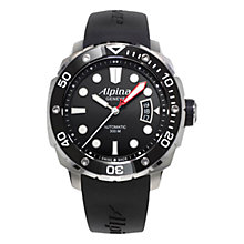 Buy Alpina AL-525LB4V36 Men's Extreme Diver Automatic Rubber Strap Watch, Black Online at johnlewis.com