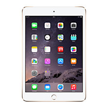 "Buy New Apple iPad mini 3, Apple A7, iOS 8, 7.9"", Wi-Fi & Cellular, 64GB, Gold + Targus Versavu Slim Rotating Case with Autowake Function for iPad mini 2 & 3, Black Online at johnlewis.com"