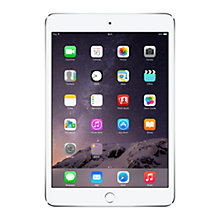 "Buy New Apple iPad mini 3, Apple A7, iOS 8, 7.9"", Wi-Fi & Cellular, 128GB, Silver + Targus Versavu Slim Rotating Case with Autowake Function for iPad mini 2 & 3, Black Online at johnlewis.com"