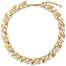 Buy Susan Caplan Vintage Bridal 1960s Trifari Gold Plated Faux Pearl Swarovski Crystal Leaf Necklace, Gold/Pearl Online at johnlewis.com