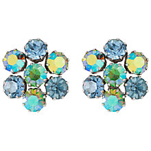 Buy Susan Caplan Vintage Bridal 1950s Kramer Silver Plated Swarovski Crystal Clip-On Earrings, Green/Blue Online at johnlewis.com