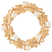 Buy Susan Caplan Vintage Bridal 1960s Trifari Gold Plated Faux Pearl Wreath Brooch, Gold/Pearl Online at johnlewis.com