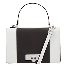 Buy Mickael Kors Callie Medium Leather Messenger Bag, White Online at johnlewis.com