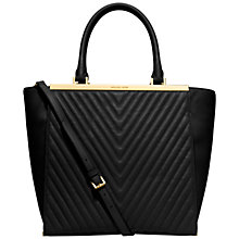 Buy MICHAEL Michael Kors Lana Large Leather Ribbed Tote Bag, Black Online at johnlewis.com
