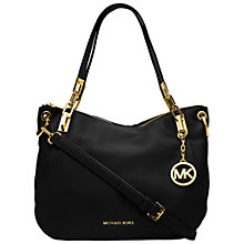 Buy MICHAEL Michael Kors Brooke Medium Leather Shoulder Bag, Black Online at johnlewis.com