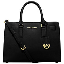 Buy MICHAEL Michael Kors Dillon Saffiano Leather Satchel, Black Online at johnlewis.com