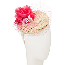 Buy John Lewis Posy Veiled Pillbox Occasion Hat, Natural/Pink Online at johnlewis.com