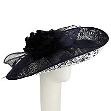 Buy John Lewis Cally Lace Sinamay Disc Hat, Navy/White Online at johnlewis.com