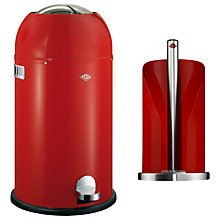 Buy Wesco Kickmaster Bin and Kitchen Roll Holder, 33L, Red Online at johnlewis.com