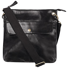 Buy Fat Face Leather Flap Across Body Bag, Black Online at johnlewis.com