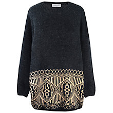 Buy Paisie Boyfriend Jumper, Charcoal/Brown Online at johnlewis.com