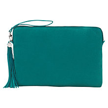 Buy Jigsaw Large Tassel Clutch Bag, Teal Online at johnlewis.com