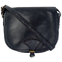 Buy Fat Face Luxury Leather Saddle Bag, Black Online at johnlewis.com