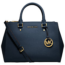 Buy MICHAEL Michael Kors Sutton Medium Leather Satchel Bag, Navy Online at johnlewis.com