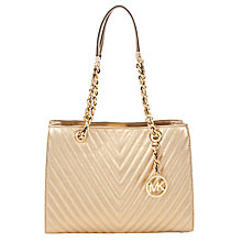 Buy MICHAEL Michael Kors Susannah Quilted Medium Leather Tote Bag, Gold Online at johnlewis.com
