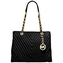 Buy MICHAEL Michael Kors Susannah Quilted Medium Leather Tote Bag, Black Online at johnlewis.com