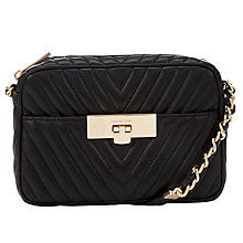 Buy MICHAEL Michael Kors Susannah Leather Medium Messenger Bag, Black Online at johnlewis.com
