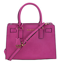 Buy MICHAEL Michael Kors Dillon Leather Tote Bag, Fuschia Online at johnlewis.com