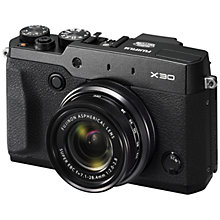 "Buy Fujifilm Finepix X30 Digital Camera, 12MP, 4x Optical Zoom, Wi-Fi with 3.0"" LCD Screen, Black with Memory Card Online at johnlewis.com"