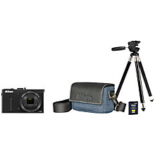 "Buy Nikon Coolpix P340 Digital Camera Urban Kit, HD 1080i, 12.2MP, 5x Optical Zoom, Wi-Fi, 3"" LCD Screen with Battery, Charger, Case and Tripod Online at johnlewis.com"