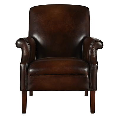 John Lewis Clifton Semi-Aniline Leather Armchair, Picasso Chestnut
