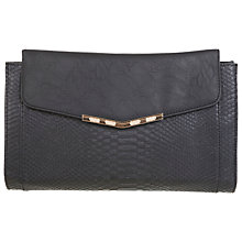 Buy Miss Selfridge Snake Block Clutch Bag, Black Online at johnlewis.com
