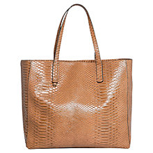Buy Mango Snake Effect Shopper Bag, Medium Brown Online at johnlewis.com