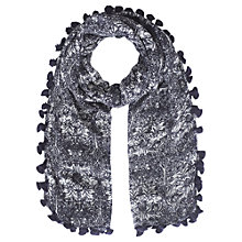 Buy Jigsaw William Morris Pom Pom Scarf, Blue Online at johnlewis.com