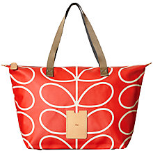 Buy Orla Kiely Giant Linear Zip Shopper Bag, Red Online at johnlewis.com