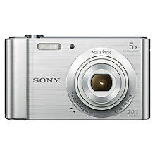 "Buy Sony CyberShot DSC-W800 Digital Camera, HD 720p, 20.1MP, 5x Optical Zoom, 2.7"" LCD Screen, Silver with Memory Card Online at johnlewis.com"