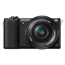 "Buy Sony A5100 Compact System Camera with 16-50mm OSS Lens, HD 1080p, 24.3MP, Wi-Fi, NFC, OLED EVF, 3"" Tilting Touch Screen Online at johnlewis.com"