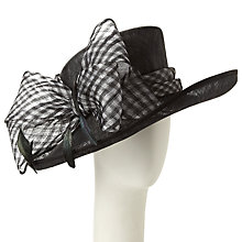 Buy John Lewis Sami Upbrim Gingham Bow Occasion Hat, Black/Ivory Online at johnlewis.com