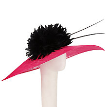 Buy John Lewis Dita Large Flower Down Brim Sinamay Occasion Hat, Pink/Black Online at johnlewis.com