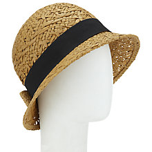 Buy John Lewis Bow Cloche Hat, Natural Online at johnlewis.com