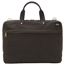 Buy Jack Spade Waxwear Slim Briefcase, Chocolate Online at johnlewis.com